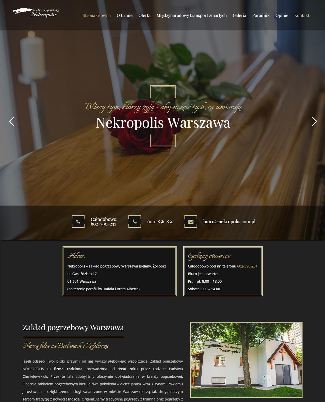 strona zakładu Nekropolis